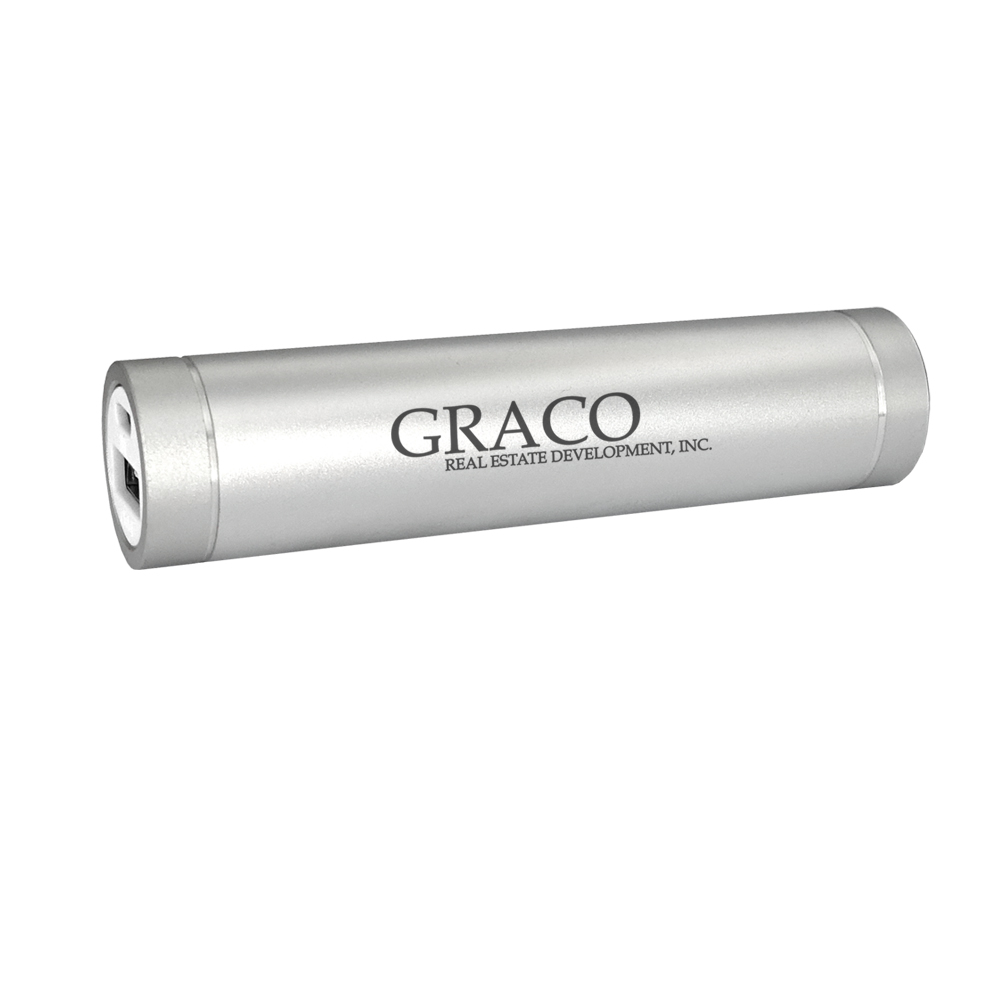 2,200 mAh Silver Cylindrical Power Bank
