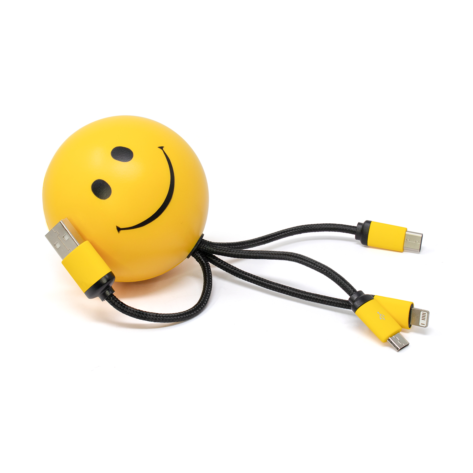 SqueezieCords - Smiley Face Stress Ball with Charging Cables - Yellow