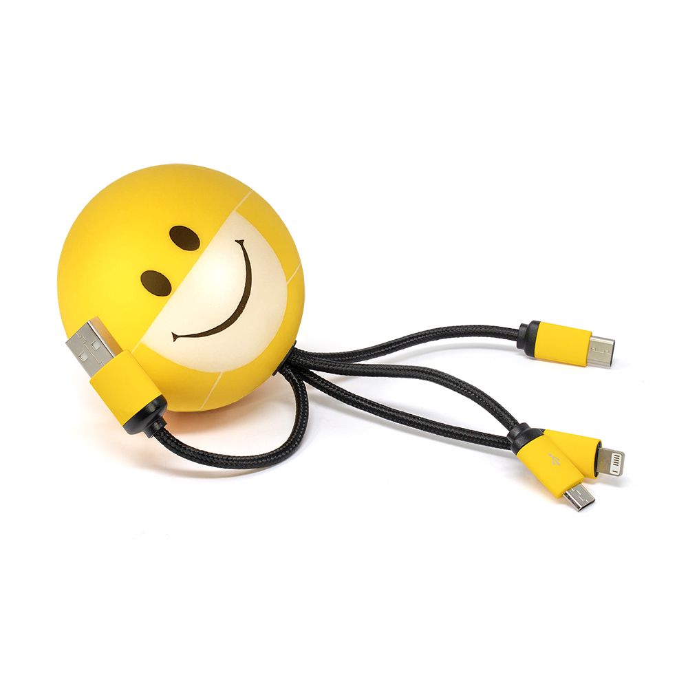 SqueezieCords - Smiley Mask Stress Ball with Charging Cables - Yellow