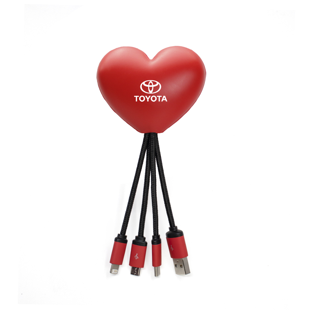 SqueezieCords - Heart Shaped Stress Ball with Charging Cables - Red