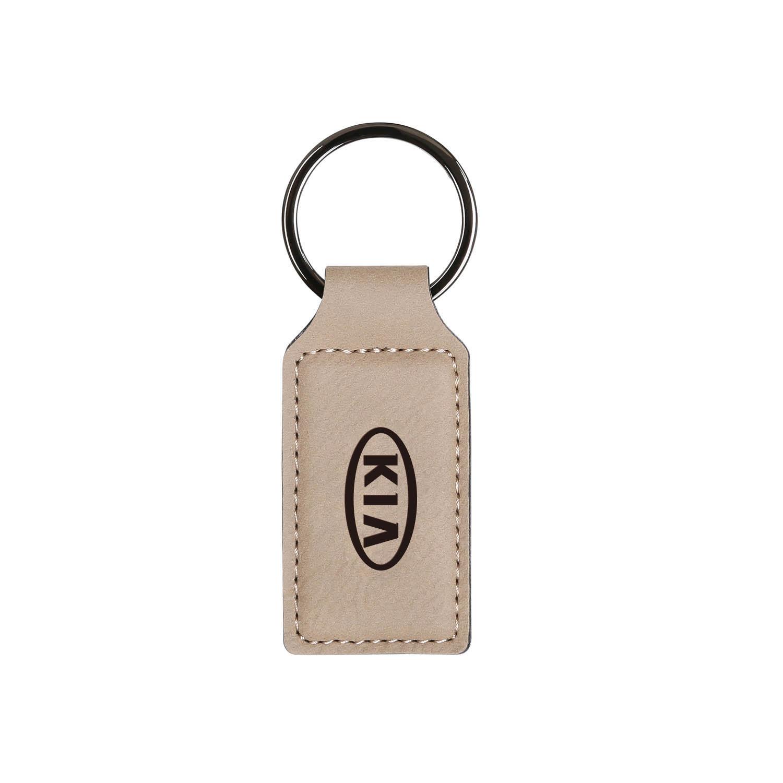 Rectangular Vegan Leather Keychain - Beige