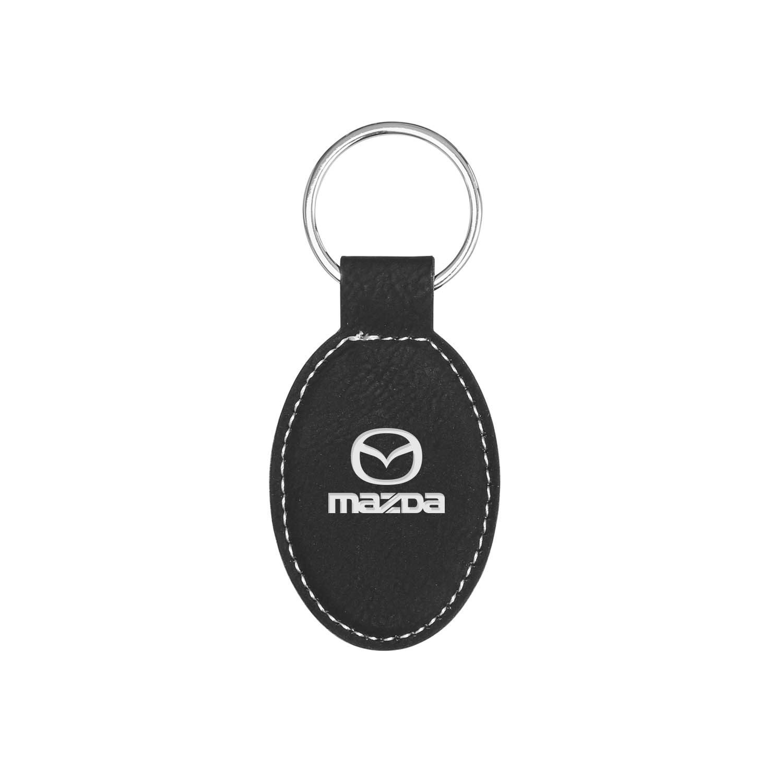 Oval Vegan Leather Keychain - Black
