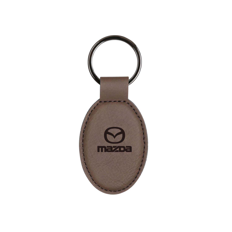 Oval Vegan Leather Keychain - Dark Brown