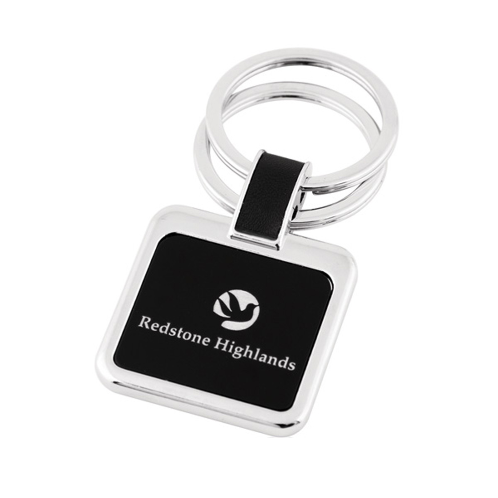 Black Colored Square Key Chain